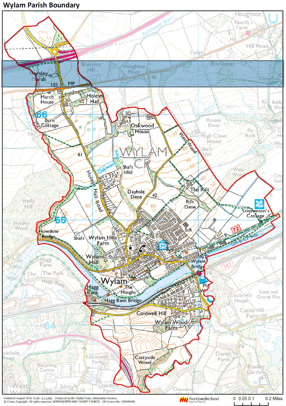 Ordnance Survey map image showing the boundary of Wylam Parish Council